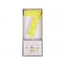 Meri Meri Birthday Candle 7 yellow glitter