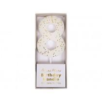 Meri Meri Birthday Candle 8 white glitter