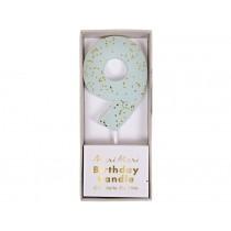 Meri Meri Birthday Candle 9 blue glitter