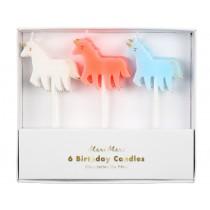 Meri Meri Glitter 6 Candles UNICORN