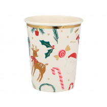 Meri Meri 8 Party Cups FESTIVE MOTIFS