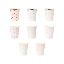 Meri Meri 8 Party Cups HEARTS pastel