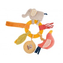 Moulin Roty activity rattle ring elephant and bird