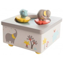 Moulin Roty musical box dancing elephant and hippo