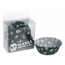 Muffin paper cups with skulls