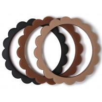 Mushie Teething Bracelets FLOWER Black/Natural/Caramel
