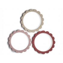 Mushie Teething Bracelets FLOWER Rose/Blush/Shifting Sand