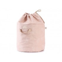 Nobodinoz Bamboo Toy Bag White Bubble MISTY PINK small