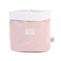 Nobodinoz Panda Storage Basket White Bubble MISTY PINK large