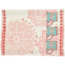 Overbeck and Friends kitchen towel Veronika red-turquoise