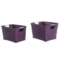 Overbeck basket with handles aubergine