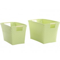 Overbeck and Friends baskets with handle pastel mint