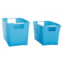 Overbeck basket with handles turquoise