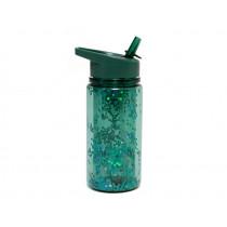 Petit Monkey Water Bottle GLITTER salie green