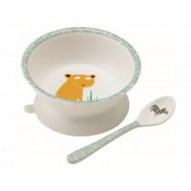 Petit Jour Melamine Bowl with Suction Pad and Spoon SAVANNAH