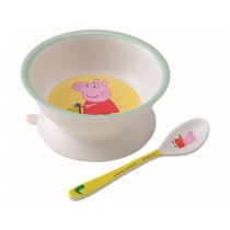 Petit Jour Bowl with Suction Pad and Spoon PEPPA PIG