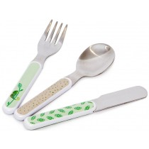 Petit Monkey Cutlery Set SLOTH green