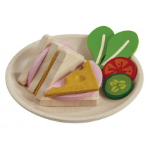 Plantoys Wooden Sandwich Plate HAM & CHEESE