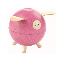 Plantoys Wooden Piggy Bank PINK