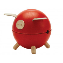 Plantoys Wooden Piggy Bank Orchard RED