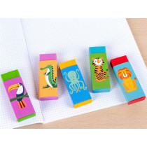 Rex London Set of 5 Rubber Erasers COLOURFUL CREATURES