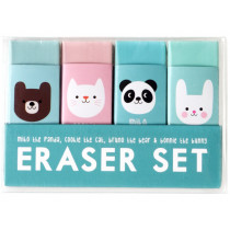 Rex London Set of 4 Rubber Erasers MIKO & FRIENDS