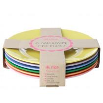 RICE 6 Melamine Side Plates LET'S SUMMER Colors