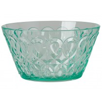 RICE acrylic bowl swirly embossed PASTEL GREEN SMALL