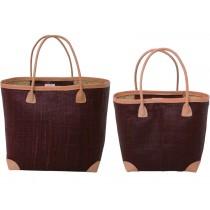 RICE Raffia Shopping Bag Bordeaux