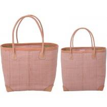 RICE Raffia Shopping Bag Pink