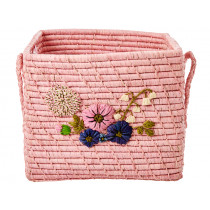 RICE Square Raffia Basket FLOWERS blush