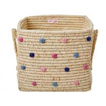 RICE Square Raffia Basket DOTS