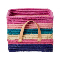 RICE Raffia Basket with STRIPES