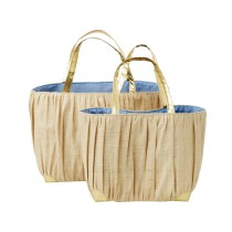 RICE Raffia Shopper with golden handle natural