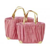 RICE Raffia Shopper with golden handle pink