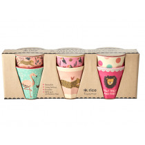 RICE 6 Small Melamine Cups JUNGLE pink
