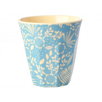 RICE Melamine Cup FERNS & FLOWERS light blue