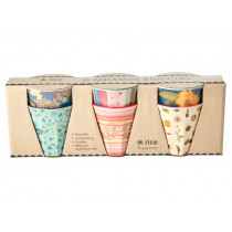 RICE 6 Small Melamine Cups BELIEVE IN RED LIPSTICK