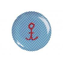 RICE dessert plate sailor stripe with anchor print