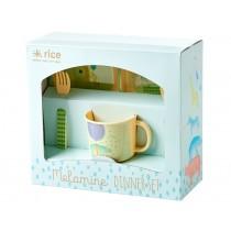 RICE melamine set gift box boys animal print