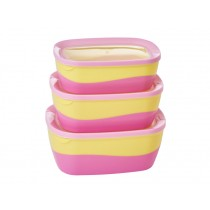 RICE Rectangular Two Tone Food Boxes pink/yellow