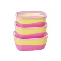 RICE Rectangular Two Tone Food Boxes pink/yellow
