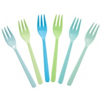 RICE cake forks blue and green colours