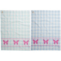 RICE tea towel coral butterflies checked