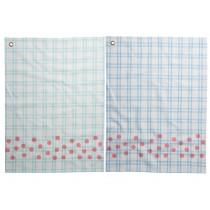 RICE tea towel coral dot print checked