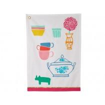RICE Tea towel with kitchen print