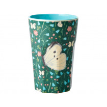 RICE Tall Melamine Cup BUTTERFLY PRINT GREEN