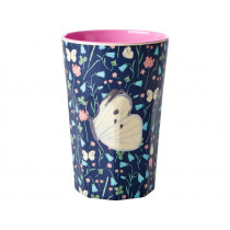 RICE Tall Melamine Cup BUTTERFLY PRINT BLUE