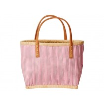 RICE kids fabric shopping bag with leather handles in pink vichy