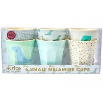 RICE 6 Small Melamine Cups DINO